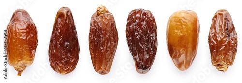Fotografie, Obraz Dried dates isolated on white background.