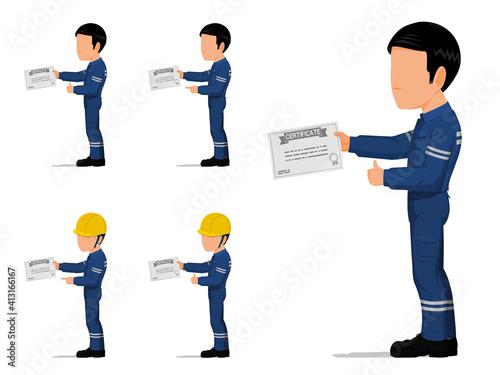Fototapeta set of an industrial worker is holding certificate obraz