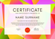 Certificate Template With Geometry Polygon Pattern (triangle Texture) Frame On Background. Design For Diploma, Certificate Of Appreciation Or Award