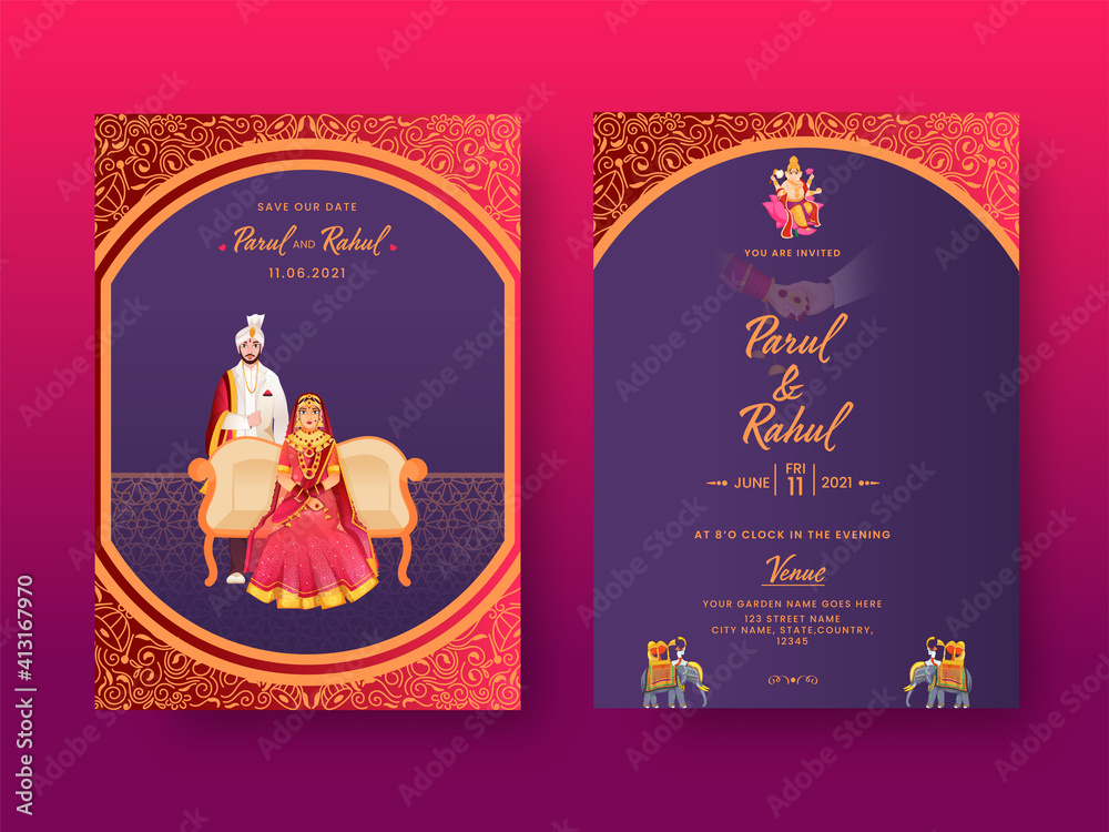 Fototapeta Front And Back View Of Indian Wedding Invitation Card With Hindu Couple Character In Traditional Dress.