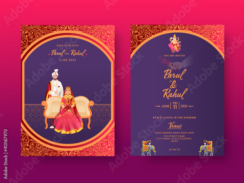 Fototapeta Front And Back View Of Indian Wedding Invitation Card With Hindu Couple Character In Traditional Dress. obraz