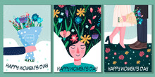 International Women's Day. March 8. Independence, Equality. Women. Declaration Of Love. Flowers. Vector Illustration In A Modern Style. Hand Drawing.