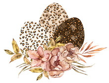 Watercolor Happy Easter Leopard Eggs Decorated Floral Bouquets Clipart. Cute Easter Illustrations Can Be Used For Greeting Cards, Posters, Sublimations, Print, Stickers, Postcard, Patterns.
