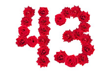Numeral 43 Made Of Red Roses On A White Isolated Background. Element For Decoration. Forty Three. Red Roses.