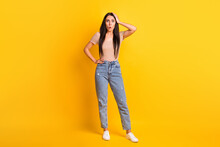 Full Length Body Size Photo Of Female Student Stressed Depressed Forgot Lost Opened Mouth Isolated On Bright Yellow Color Background