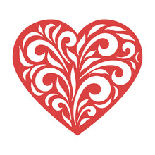 Heart With Curved Leaves. Template For Cutting, Layout Of Wedding Invitations, Cards For Valentine's Day, For Mother's Day. Curly Vector Drawing For Laser Cutting Or Wood Carving Vector Illustration