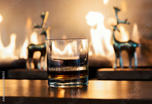 Close-up Of Whiskey In Glass On Bar Counter Against Fireplace © richard theis/EyeEm