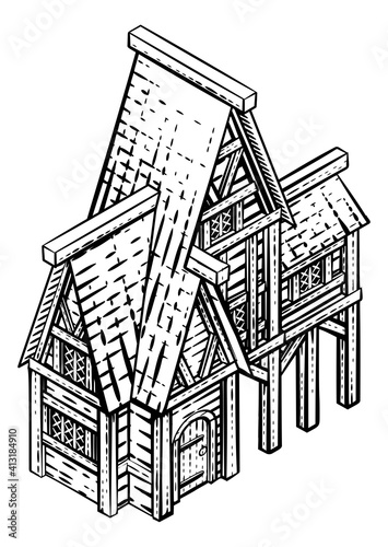 Fototapeta A medieval building map icon isometric illustration in a vintage retro engraved