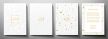 Modern Cover, Frame Design Set. Luxury White Creative Line Pattern And Golden Stars . Vector Luxe Background