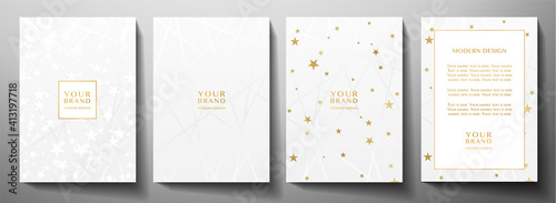 Obraz Modern cover, frame design set. Luxury white creative line pattern and golden stars . Vector luxe background - fototapety do salonu