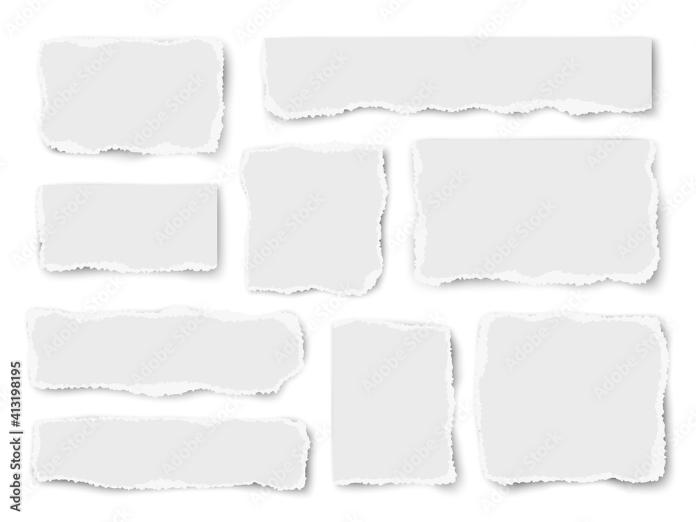 Fototapeta Set of paper different shapes scraps isolated on white background