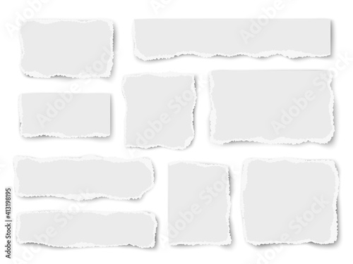 Obraz Set of paper different shapes scraps isolated on white background - fototapety do salonu