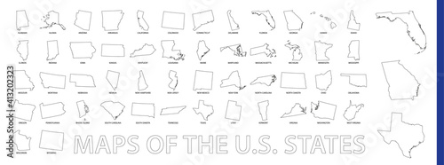 Fotografia Maps of The US State, Outline maps collection.