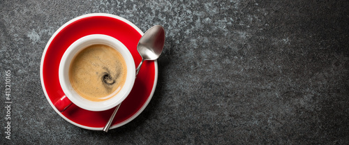 Canvastavla Cup of coffee on black background