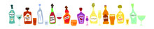 Collection Bottle And Glass In Row. Freehand Doodle Style On White Background. Colored Cartoon Sketch. Hand Drawn Image. Beer Champagne Red Wine Liquor Vodka Martini Vermouth Whiskey Rum Tequila.