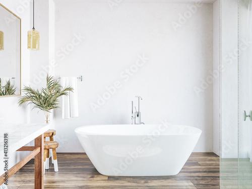 Fototapeta Poster, wall mockup in white cozy bathroom interior background, 3d render obraz
