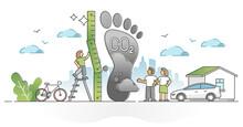 Carbon Footprint Pollution As CO2 Emission Environment Impact Outline Concept