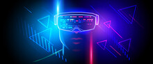 Silhouette Of A Human Face In Augmented Or Virtual Reality Headset. Abstract Digital Interface On Dark Blue Background. Vector Illustration