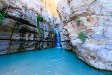 Flowing Water To A Large Pool Of Clear Water, In The Hidden Waterfall In Nahal Arugot, Ein Gedi Israel Route