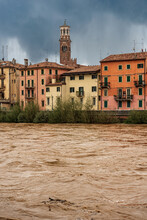 The River Adige In Flood In Verona Downtown After Several Violent Storms. In The Background The Lamberti Tower (Torre Dei Lamberti, XI Century-1403). UNESCO Heritage Site, Veneto, Italy, Europe.