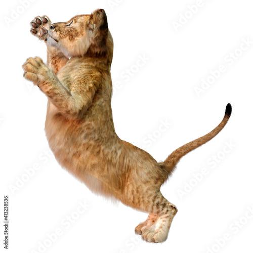 Obraz na plátně 3D Rendering Lion Cub on White