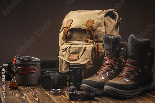Slika na platnu Hiking equipment for a tourist on vacation