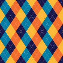 Argyle Pattern Colorful In Blue, Orange, Yellow. Traditional Geometric Stitched Vector Argyll Diamond Background For Gift Wrapping, Socks, Sweater, Jumper, Or Other Modern Summer Autumn Textile Print.