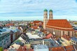 canvas print picture - Aerial view of Cathedral of Our Dear Lady, The Frauenkirche in Munich city, Germany