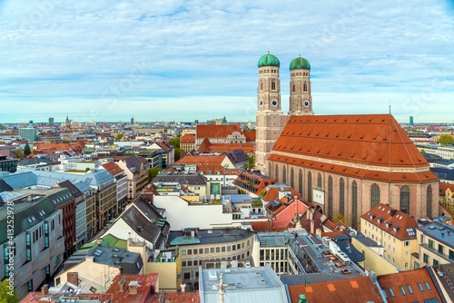 Photo Aerial view of Cathedral of Our Dear Lady, The Frauenkirche in Munich city, Germ