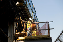 Working Construction At Manhattan Bridge, New York