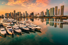 Beautiful View City Miami Downtown Panorama Buildings Reflections Water Boats Marina Buildings Skyscrapers Cute Florida Usa Lights Sunrise
