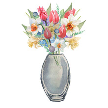 Bouquet Of Flowers Tulips Daffodils In A Vase In A Box In A Basket. Pradnik 8 March Spring Congratulations Postcard. Hand Drawn Watercolor Illustration. Print Textile Vintage Retro.