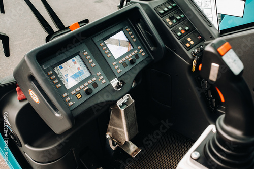 Crane control panel in the driver's cab of a car crane Poster Mural XXL