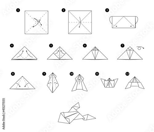 Tutorial how to make origami frog Fototapet