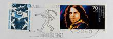 Briefmarke Stamp Gestempelt Used Frankiert Cancel Post Letter Mail Brief  Slogan Werbung Hameln Rattenfänger Vintage Retro Alt Old Flughafen Frankfurt 10 Jim Morrison Geischt Face Mann Man Sänger