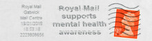 Briefmarke Stamp Gestempelt Used Frankiert Cancel Post Letter Mail Brief  Slogan Werbung Orange Royal Mail Support Mental Health Awareness Welle Wave England Uk Gb Gatwick Pound Stempel