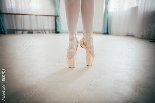Close up of ballerina legs on pointe shoes Wallpaper Mural