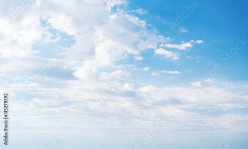 Fototapeta Blue sky with white altocumulus clouds at daytime obraz