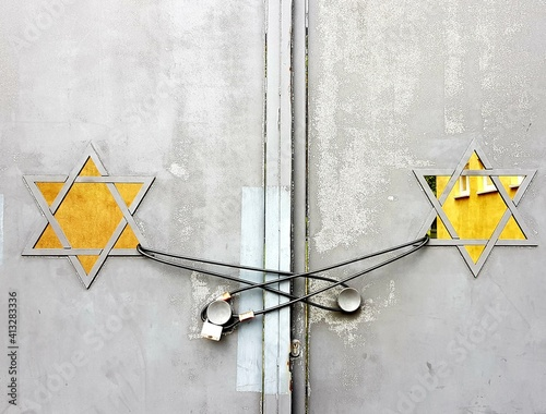Fototapeta Low Angle View On Door Of A Synagogue