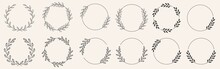 Set Of Black Laurels Frames Branches With Circle Borders. Hand Drawn Collection Laurel Leaves Decorative Elements. Award, Leaves, Invitation Decoration, Swirls, Ornate. Vector Icon Illustration