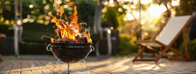 Barbecue Grill With Fire On Open Air