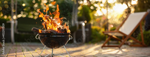 Barbecue Grill With Fire On Open Air Fotobehang