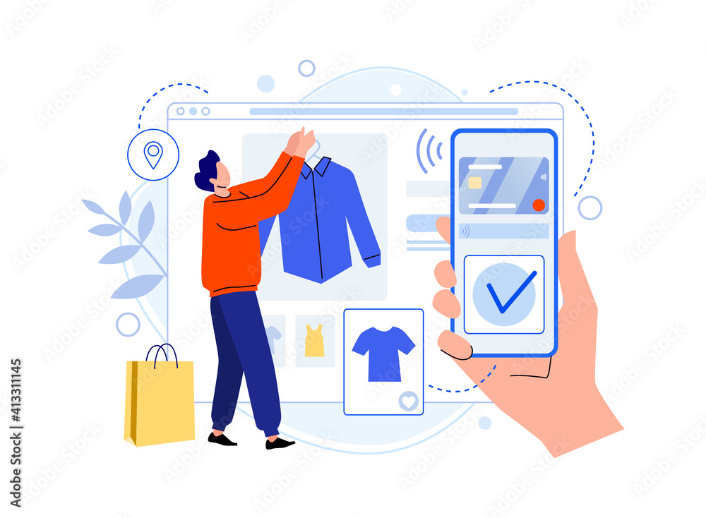 Fototapeta Shopping online with smartphone, man choosing clothes. Illustration online buy in store, shop e-commerce, vector clothing market