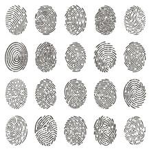 Biometric Fingerprints. Human Grunge Individual Finger Prints, Biometric Thumb Lines And Hand Marks. Fingerprints Identification Vector Illustration Set. Finger Print, Finger Unique Individual