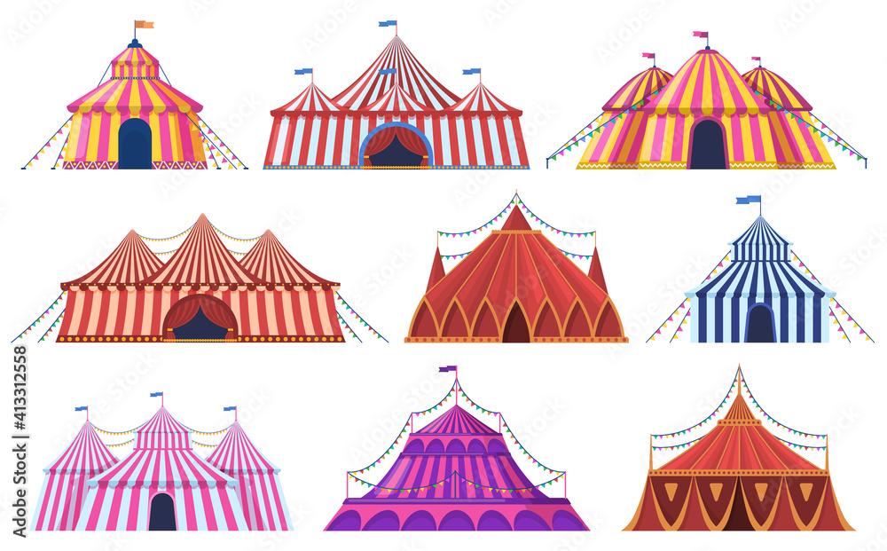 Fototapeta Circus tent. Amusement park vintage carnival circus tent with flags, amusement attraction. Circus entertainment tents vector illustration set. Marquee striped dome, recreation entertainment festive
