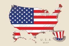 Map Of America With Flag And An Uncle's Sam Hat In Vintage Style, Hand-drawn.