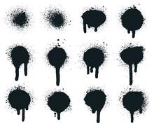 Spray Paint Dots. Splatter Painted Drips, Grunge Art Circle Texture, Graffiti Dirty Sprayed Paints. Abstract Paint Texture Vector Illustration Set. Splatter Paint, Drip Graffiti, Splattered Texture