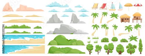 Fototapeta Beach landscape elements. Nature beach, clouds, hills, mountains, trees and palms. Outdoor tropical beach landscape constructor vector illustration. Beach landscape sea, mountain and coast obraz