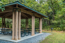 Covered Picnic Area With Grill In The Park