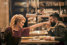 Beautiful Couple In Love Dating And Drinking At Restaurant. Married Life.
